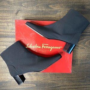 NEW! Ferragamo Nero Fabric Square Toe Black Boots